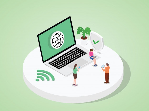 eople use devices laptop tablet smartphone work by access internet modern flat cartoon style 82472 348 - The Best Fibre Home Broadband Malaysia